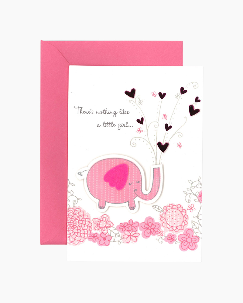 Hallmark Nothing Like a Little Girl New Baby Card