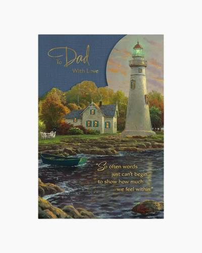 Thomas Kinkade Lighthouse Sunset Father's Day Card