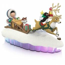 Hallmark The World of Frosty Friends Here Come Frosty Friends Sled Mantelscape