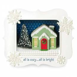 Hallmark All Is Cozy Shadow Box Holiday House Ornament