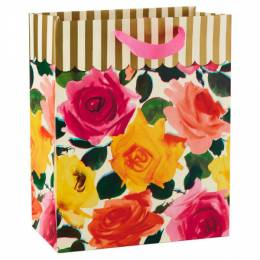 Hallmark Roses and Gold Stripes Large Gift Bag