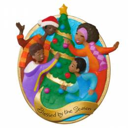 Hallmark Blessed by the Season African-American Family Ornament