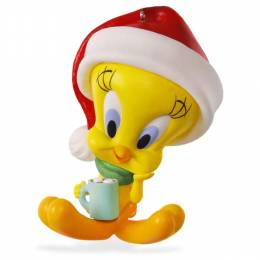 Hallmark LOONEY TUNES Hot Cocoa Christmas TWEETY Porcelain Ornament