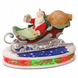 Hallmark Once Upon a Christmas Santa Takes Flight Musical Decoration With Lights