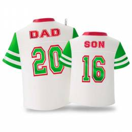Hallmark Dad & Son Red and Green Jerseys Ornament
