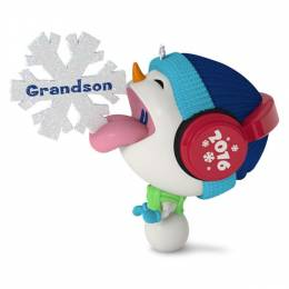 Hallmark Whimsical Snowman and Snowflake Grandson Ornament