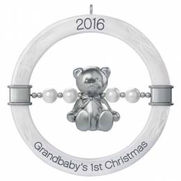 Hallmark Grandbaby's First Christmas Teddy Bear Rattle Ornament