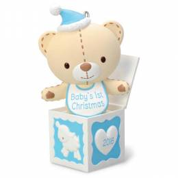 Hallmark Baby Boy's First Christmas Teddy Bear in the Box Ornament