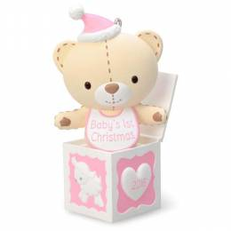 Hallmark Baby Girl's First Christmas Pink Teddy Bear in the Box Ornament
