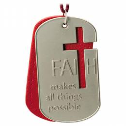 Hallmark All Things Are Possible With Faith Dog Tags Ornament