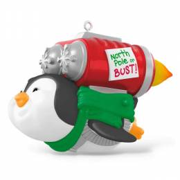 Hallmark North Pole or Bust Rocket-Powered Penguin Fly Musical Ornament