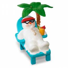 Hallmark Kokomo Snowman Relaxing Under Palm Tree Musical Ornament