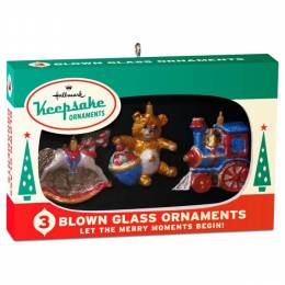 Hallmark Nifty Fifties Keepsake Ornaments Box of 3 Mini Glass Ornaments