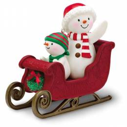 Hallmark Snowmen Twinkling Sleigh Ride Musical Ornament