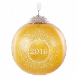 Hallmark Christmas Commemorative Gold Glass Ball Ornament