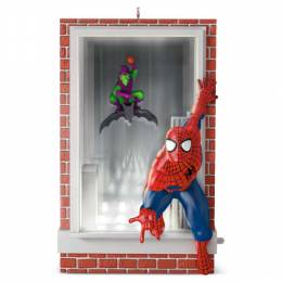 Hallmark Slinging and Swinging Spider-Man and Green Goblin Ornament With Lights