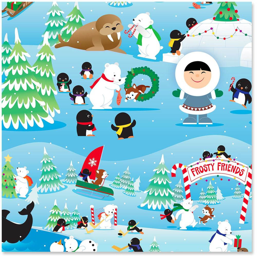 Hallmark Frosty Friends Wrapping Paper Roll, 45 sq. ft.