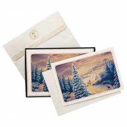 Hallmark Thomas Kinkade Wintry Day With Deer Christmas Cards, Box of 12
