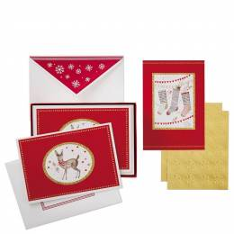 Hallmark Deer Stockings Assorted Christmas Cards, Box of 40