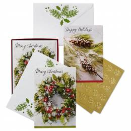 Hallmark Pine Cones and Holly Assorted Christmas Cards, Box of 40