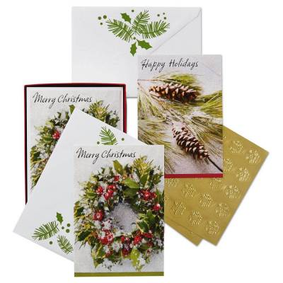 Pine Cones and Holly Assorted Christmas Cards, Box of 40
