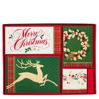 Festive Christmas Cards, Assorted Box of 40