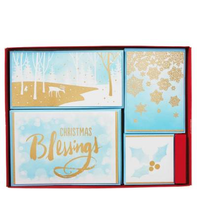 Golden Blessings Assorted Christmas Cards, Box of 40