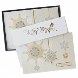 Hallmark Embellished Snowflakes Christmas Cards, Box of 12