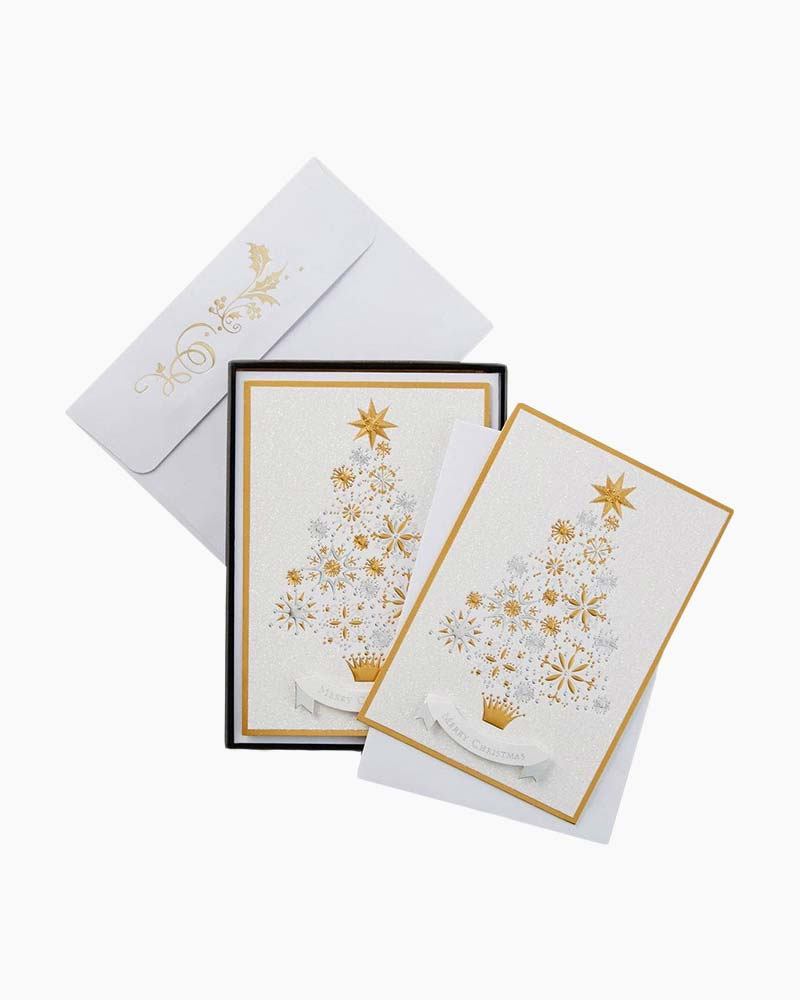 Hallmark Gold and Silver Christmas Tree Christmas Cards, Box of 12