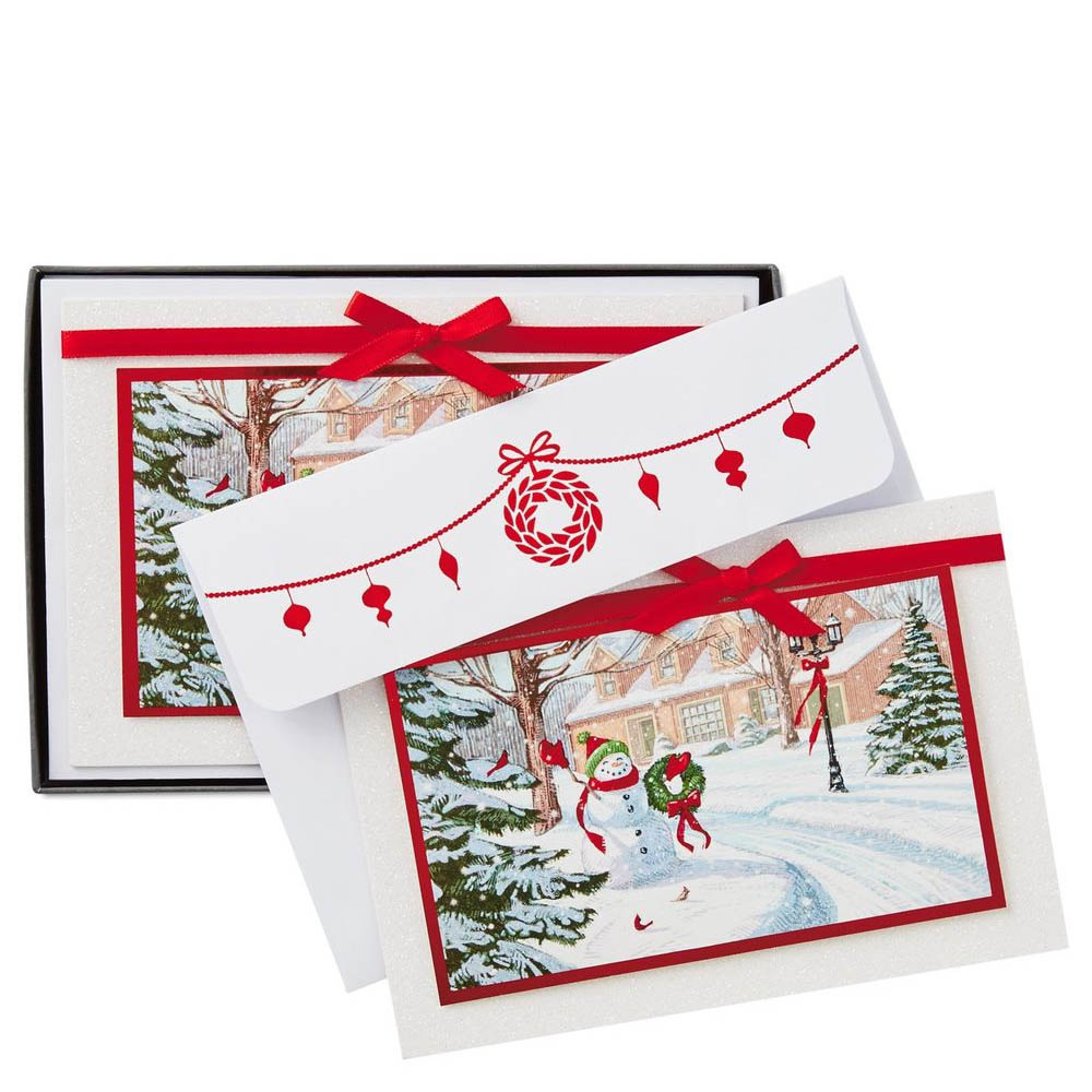 Hallmark Holiday Greenery and Snowman Christmas Cards, Box of 12