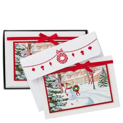 Holiday Greenery and Snowman Christmas Cards, Box of 12