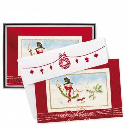 Hallmark Snowman and Garland Christmas Cards, Box of 12