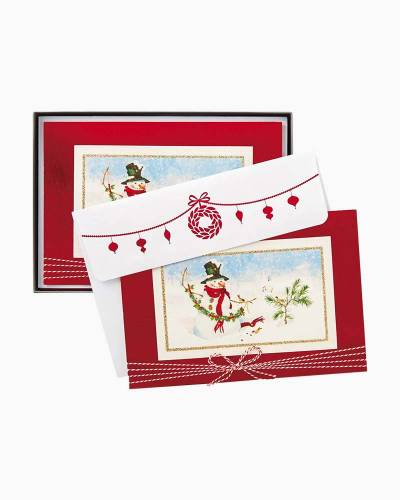 Snowman and Garland Christmas Cards, Box of 12