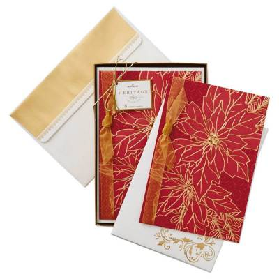 Poinsettia With Red Background Christmas Cards, Box of 8