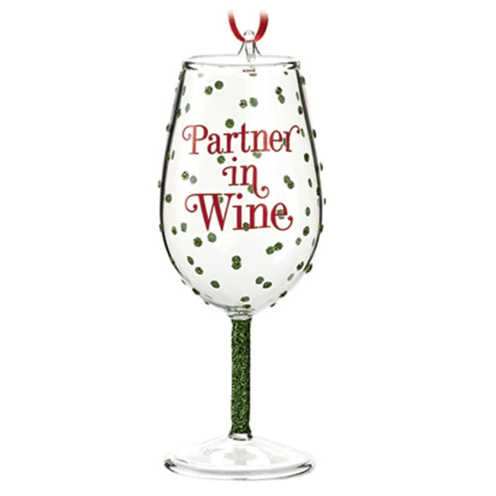 Hallmark Partner in Wine Glass Gift Ornament