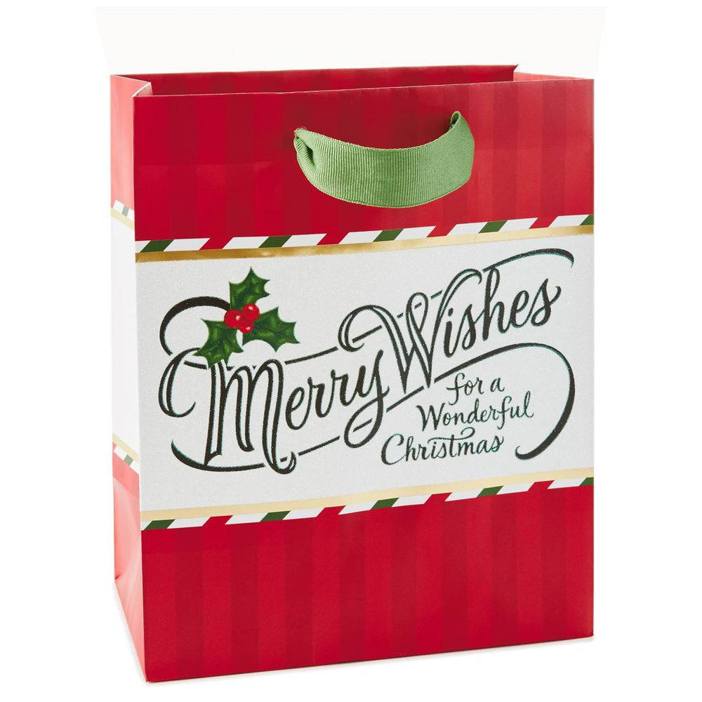 Hallmark Merry Wishes on Red Stripes Medium Gift Bag, 10