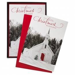 Hallmark Snowy Chapel Christmas Blessings Greeting Cards, Box of 16