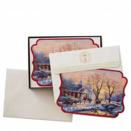 Hallmark Thomas Kinkade Holiday Evening Sleigh Ride Christmas Cards, Box of 16