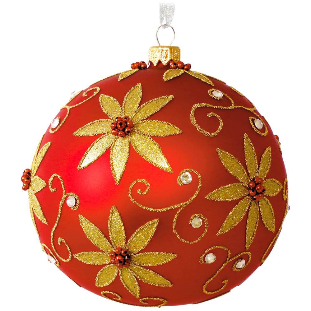 Hallmark Red Poinsettia Glass Ball Ornament