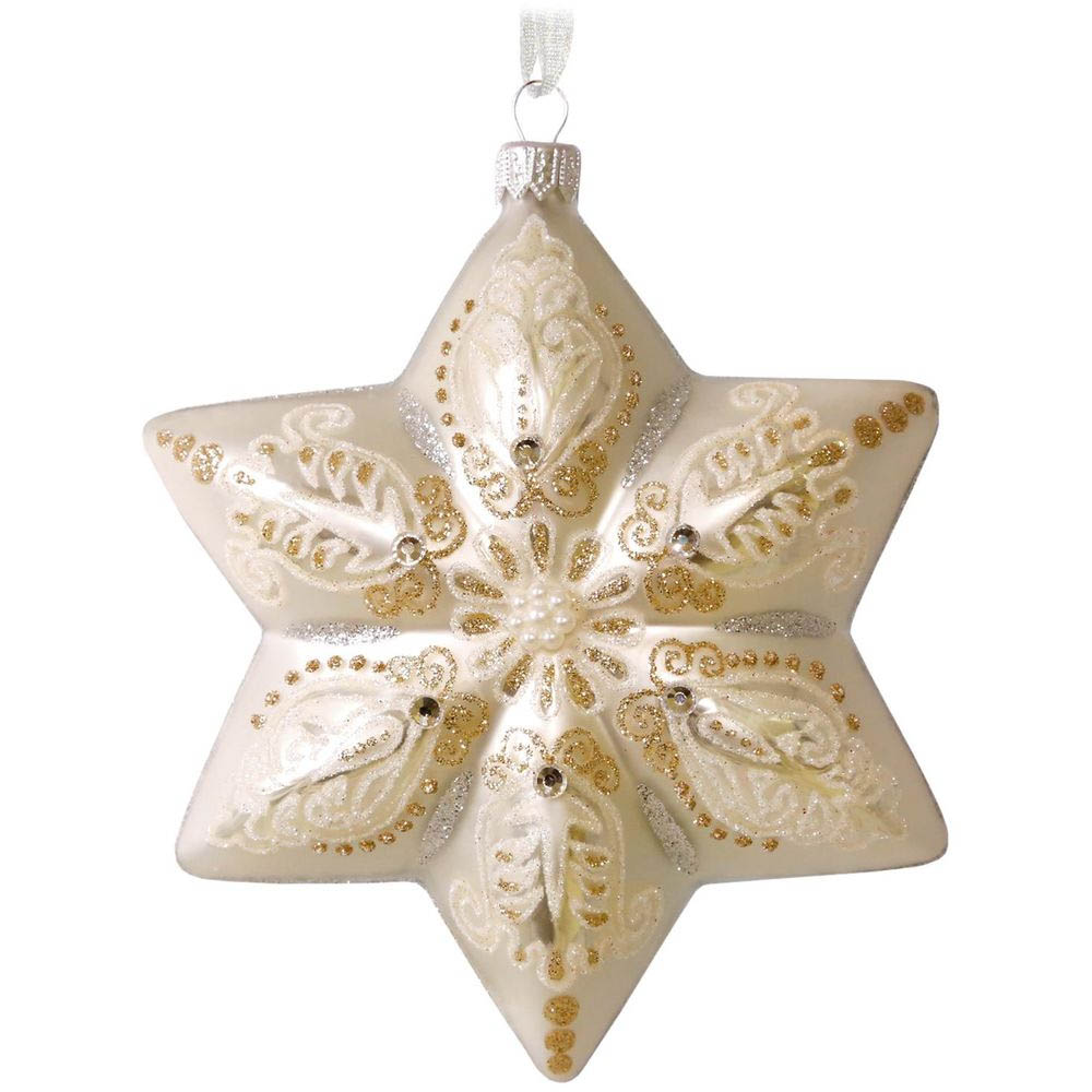 Hallmark White Star Blown Glass Ornament