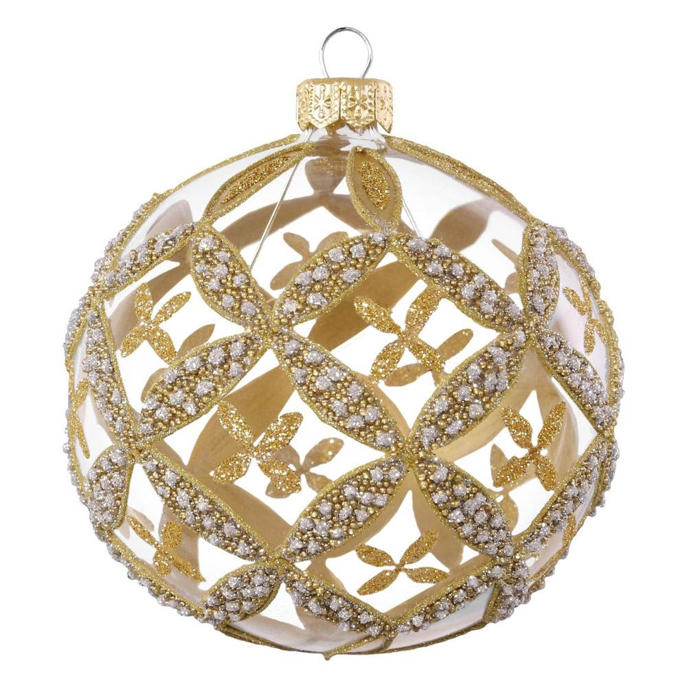 Hallmark Golden Patterns Glass Ball Ornament