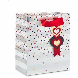 Hallmark Dots and Hearts on Stripes Small Gift Bag, 6.5