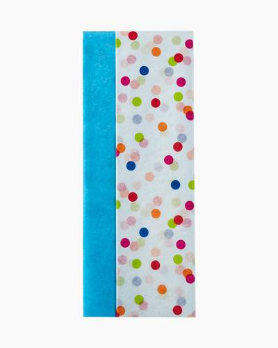 Turquoise and Confetti Dots 2-Pack Tissue Paper, 6 Sheets