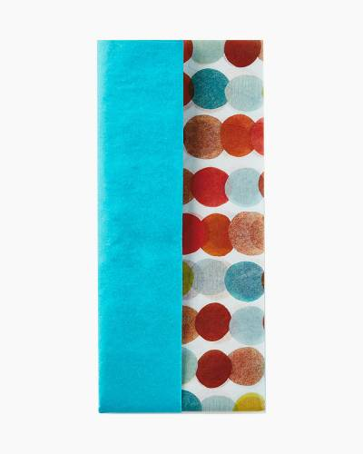 Solid Turquoise and Polka Dot Pattern 2-Pack Tissue Paper, 6 Sheets