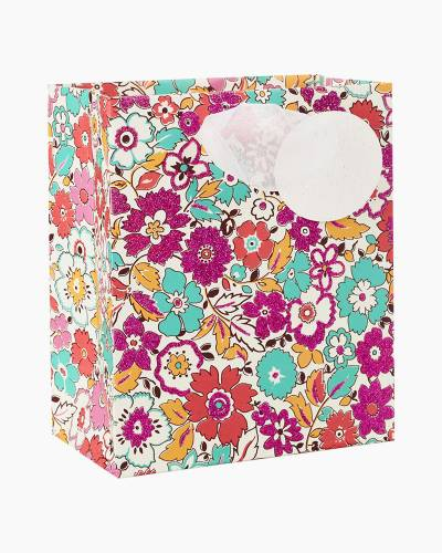 """Mini Floral Print Small Gift Bag With Glitter Tag, 6.5"""""""