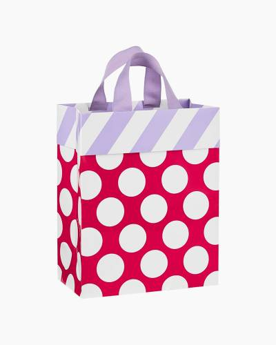 White Dots on Pink With Purple Stripes Medium Gift Bag, 9.5-inch
