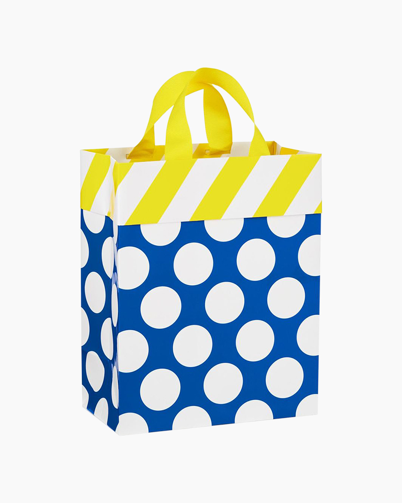 Hallmark White Dots on Blue With Yellow Stripes Medium Gift Bag, 9.5