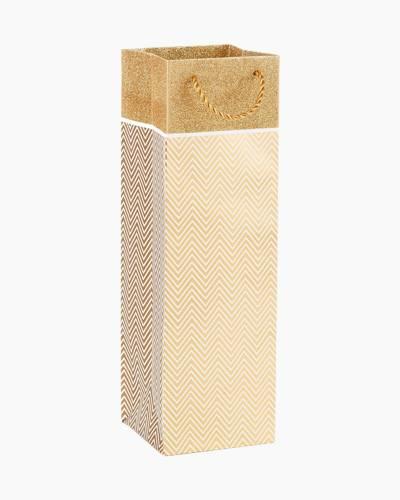 Gold Chevron Bottle Gift Bag, 13-inch
