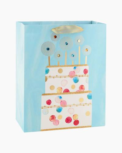 Watercolor Birthday Cake Large Gift Bag, 13""