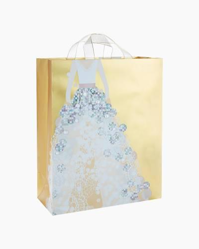 """Gold Metallic Wedding Dress X-Large Gift Bag, 15.5"""""""